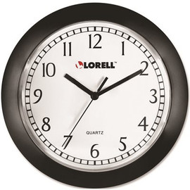 Wall Clock, Arabic Numerals, White Dial And Black Fame, 9 In.