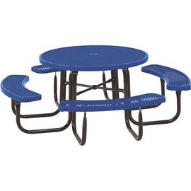 Everest 46 in. Blue Round Picnic Table