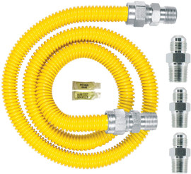 Dormont Safety-Shield Gas Appliance Connector Kit (0240892) 30C-3131KIT-48B - 5/8 In. OD (1/2 In. ID) 1/2 In. MIP X 1/2 In. MIP X 3/4 In. MIP X 48 In. Length Yellow Coated