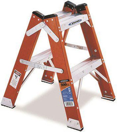 Werner 2 Ft. Fiberglass Twin Step Ladder With 300 Lb. Load Capacity Type Ia Duty Rating