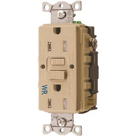 Hubbell Wiring 15 Amp 125-volt Nema 5-15r Hubbell Autoguard Tamper-resistant And Weather Resistant Gfci Receptacle, Ivory