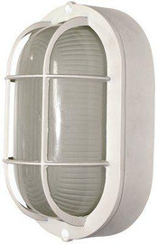 Royal Cove 1-light Outdoor White Wall Or Ceiling Mounted Fixture Bulkhead With Frosted Glass