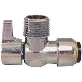 Tectite 1/2 In. Chrome-plated Brass Push-to-connect X 1/2 In. Mip Brass Quarter-turn Angle Stop Valve