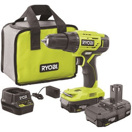 Ryobi 18-volt One+ Lithium-ion Cordless 1/2 In. Drill/driver Kit With (2) 1.5 Ah Batteries, Charger, And Bag