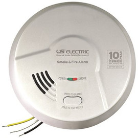 Usi 2-in-1 Tamper Proof Photoelectric And Ionization Smoke And Fire Alarm With 10 Year Sealed Battery Backup, Hardwired
