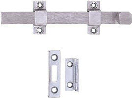 Tell Manufacturing 8 In. Satin Chrome Surface Bolt
