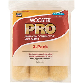Wooster 9 In. X 1/2 In. Pro American Contractor High-density Knit Fabric Roller (3 Pack)