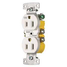 Hubbell Wiring 15 Amp Self Ground And Tamper Quik Trh Duplex Receptacle, White