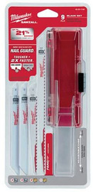 Milwaukee 49-22-1145 9 Piece Thin Kerf Sawzall Blade Kit For Wood And Metal Cutting For Reciprocating Saws W/ Nail Guard And Fang Tip Technology