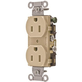 Hubbell Commercial Grade Duplex Receptacle, 15 Amp, Ivory