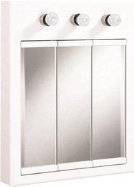 Design House Concord 24 In. X 30 In. 3-light Tri-view Surface-mount Medicine Cabinet In White Gloss