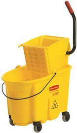 Rubbermaid Commercial Products Wave Brake 35 Qt. Yellow Side-press Combo Mop Bucket And Wringer System