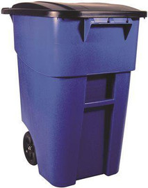 Brute Rollout Trash Can With Lid, Blue, 50 Gallons