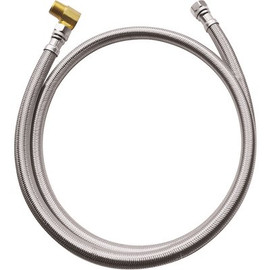 Dishwasher Connector Supply Line, 3/8' Fip X 3/8' Compression X 72' Long With Elbow Stainless Steel
