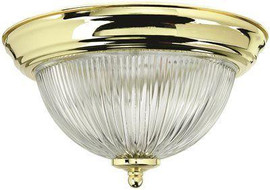 Monument Halophane Dome Ceiling Fixture, Polished Brass, 15-1/4 In., Uses (3) 60-watt Incandescent Medium Base Lamps*