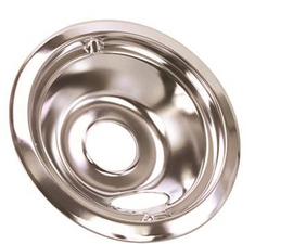 Electric Range Drip Pan Fits GE Ranges, Chrome, 6 In., Pack Of 6