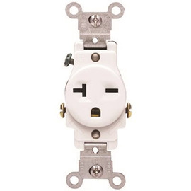 3 Way Commercial Grade Single Receptacle 15 To 20 Amps 250 Volt White
