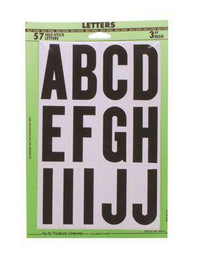 Vinyl Mailbox Stickers, Letters A-z, Black On White, 3-1/4'