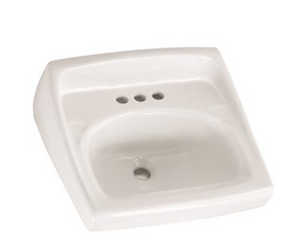 American Standard Lucerne Wall-Mounted Bathroom Vessel Sink with Faucet Holes on 4 in. Center in White
