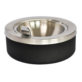 Large Capacity Tabletop Ashtray With Stainless Steel Flip Top Bowl And Empties Into Unit. Meets Fire Marshal's Standards. Black Texture Finish. Measures 8-inches Diameter By 4-inches Height. Made In The Usa.
