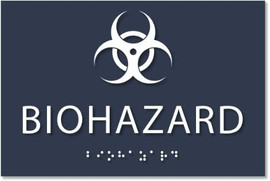 """Biohazard Sign - Ada Compliant Sign. 6""""X4"""" Sign Made From Durable Plastic With Raised Lettering And Braille. Designed To Meet Ada (Americans With Disabilities Act) Regulations. Available In 17 Colors."""