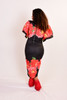 Over sizes short sleeve floral printed body con dress