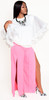 High Split Rose Pink Wide Leg Pants