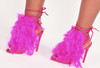 Fuchsia Feather High Heel Sandals