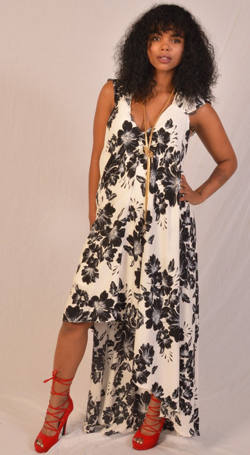 Shirring sleeve hi lo hem maxi dress black & White flower pattern