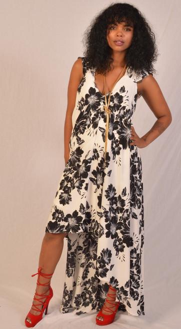 Shirring sleeve hi lo hem maxi dress black & White flower pattern