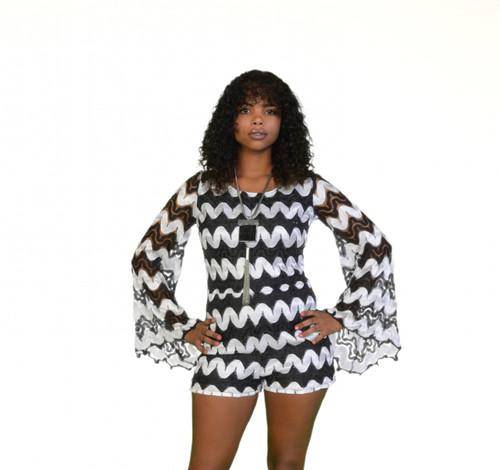 Black and white romper with bell sleeves