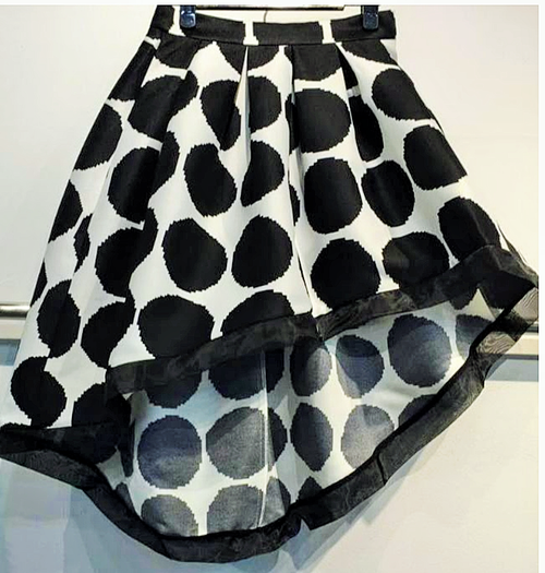 Black and White pocky Dot Asymmetric Skirt