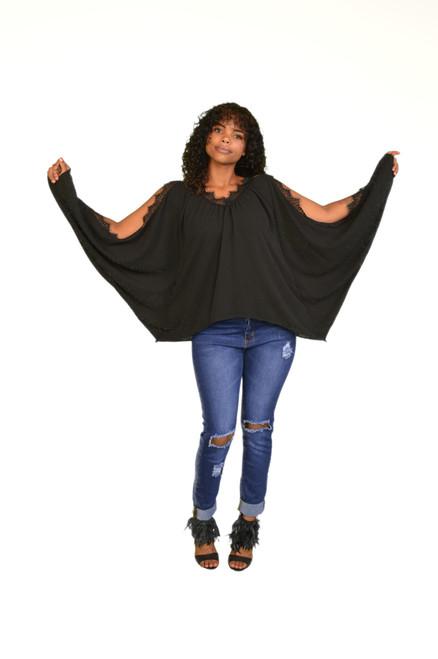 Black loose top with slits sleeves