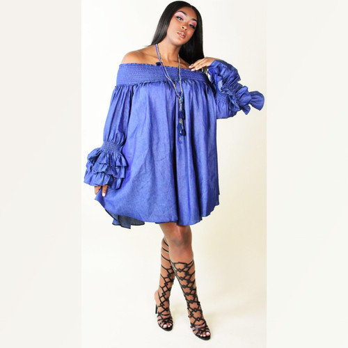 Off the shoulder Jean Dress with Ruffle Sleeves