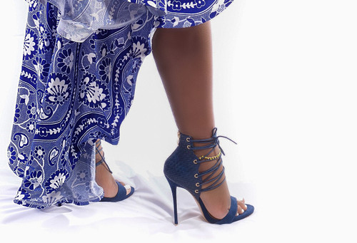 Navy String Up Sandals Heels