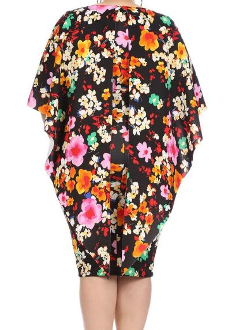 Colorful Flower Fitted Cape Dress Back view