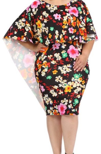 Colorful Flower Fitted Cape Dress
