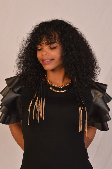 Black short sleeve faux leather ruffle top