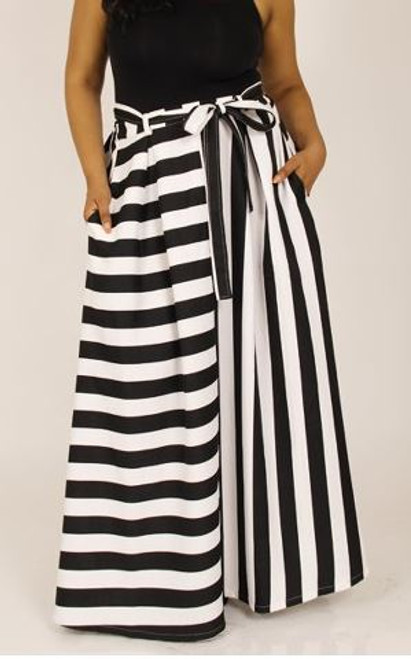Black and white striped maxi skirt front view