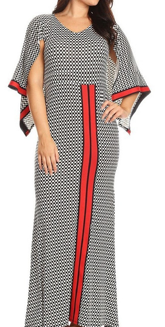 Chic Checkered Black and White Maxi Dress With Accented Red Trimming