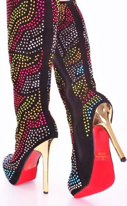 Stunning colorful Rhinestone boots