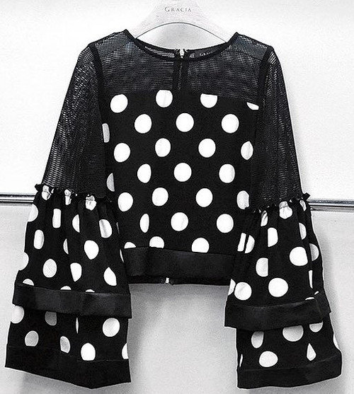 Black and White Polka Dot Bell Sleeve Top