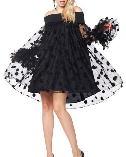Black Flared off the Shoulder Dress