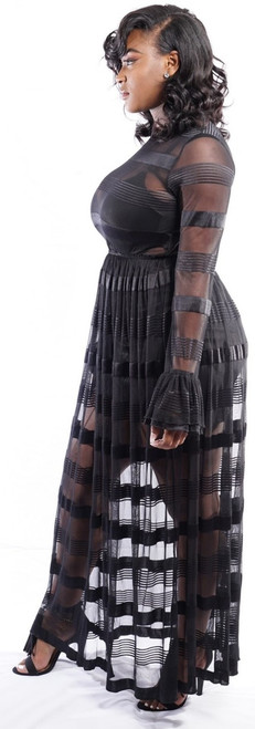 Step out in style with this sleek black sheer black sexy dress