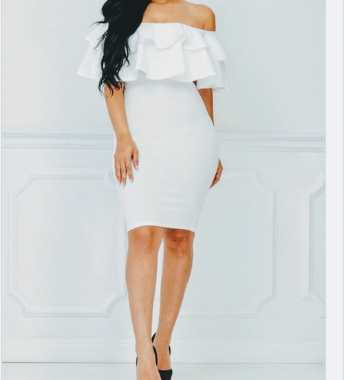 Sleek and Sexy off the shoulder white dress.  Can be dressed up with your favorite stiletto.  Also causally cute with a sandels Free Shipping