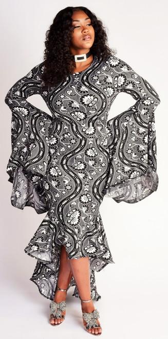Plus Mermaid maxi dress-Black