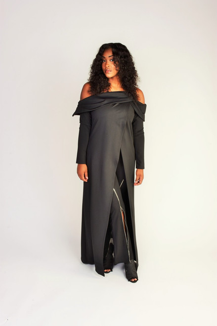 Off The Shoulder Maxi Dress - Black