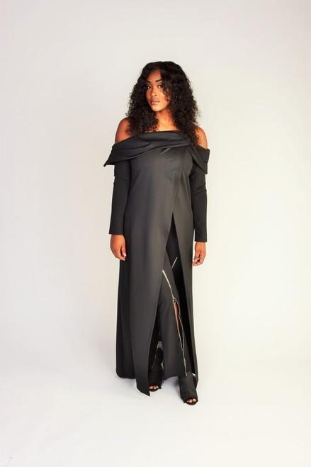 Off the Shoulders Maxi Dress - Black
