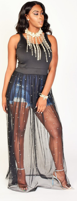 Black Sheer Bottom Accented with Pearls Maxi Dress