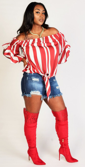 Off Shoulder Red & White Bell Sleeve Striped Print Top